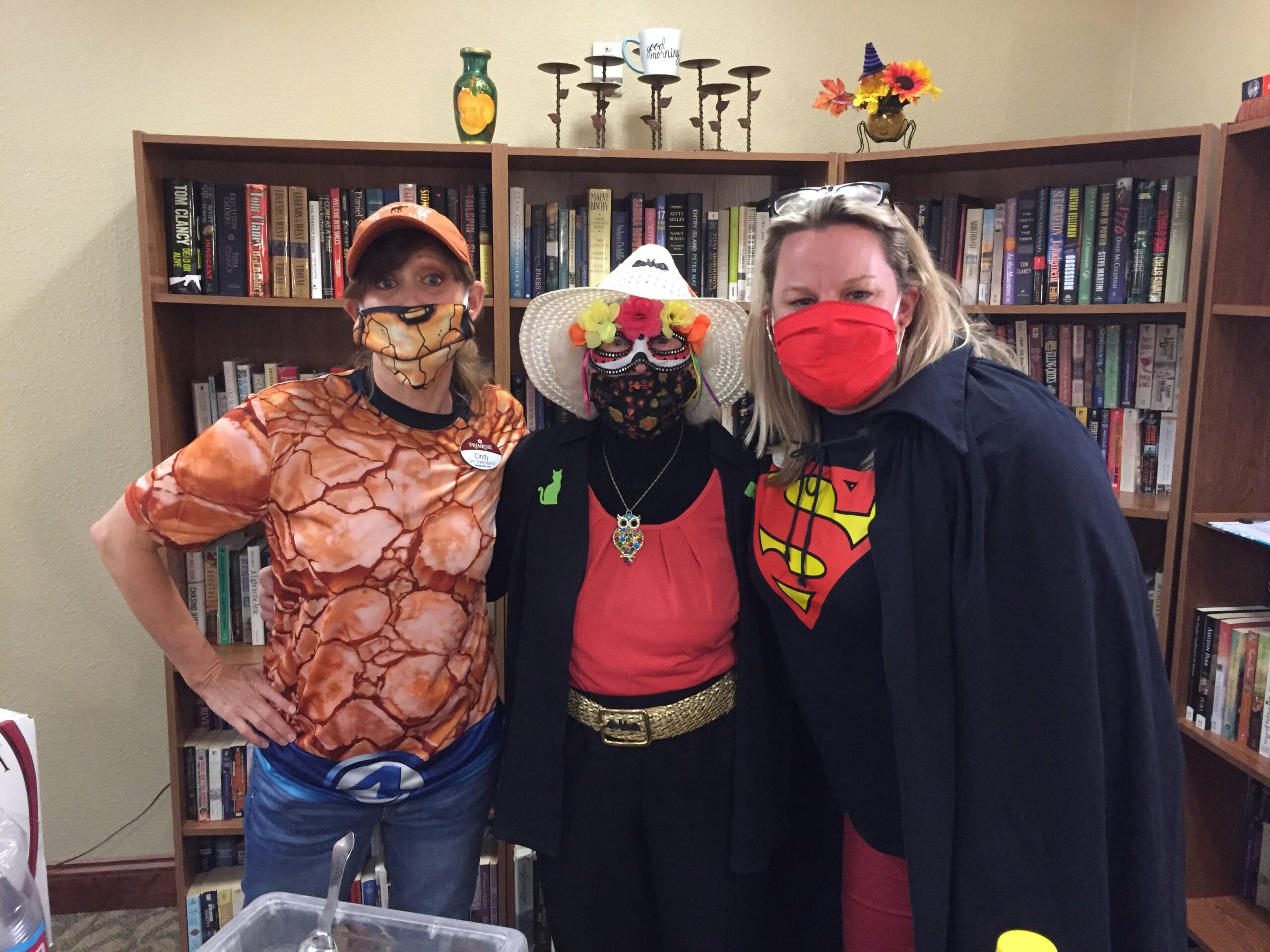 Staff and resident enjoying the halloween party