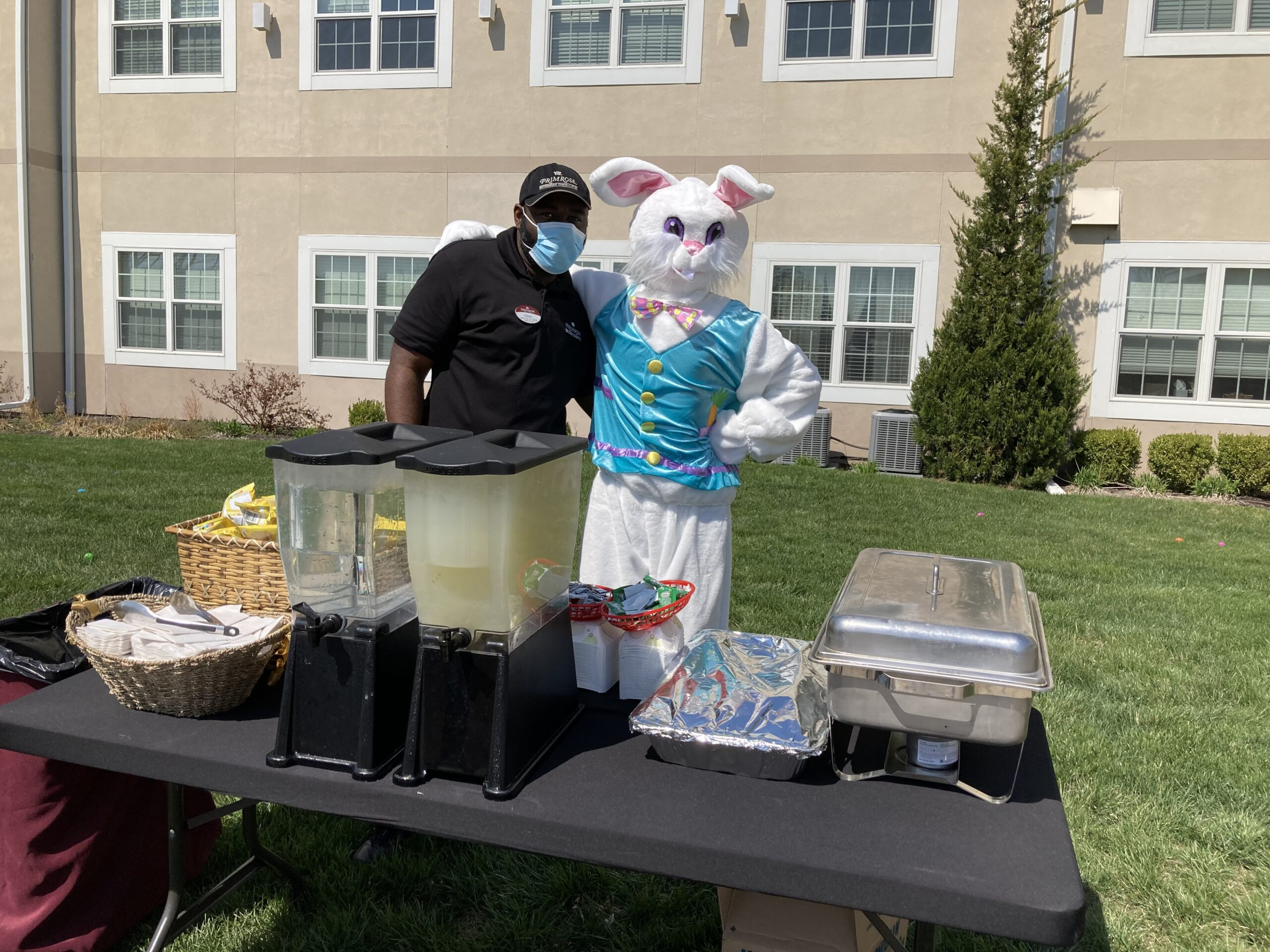 George the Easter Bunny and Isaac serving up some food and fun.