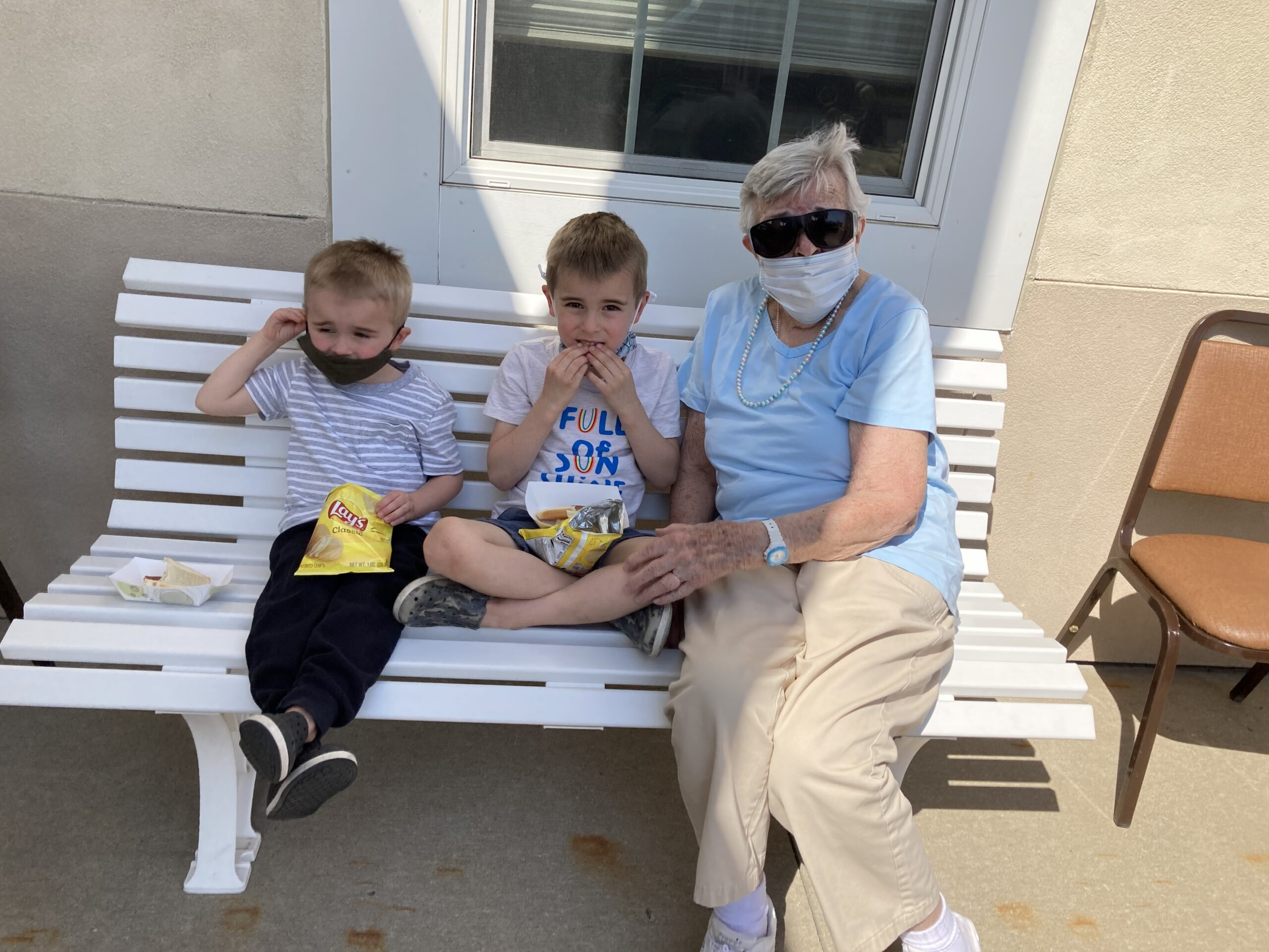 Nannie was overjoyed to see her great grandchildren this Easter