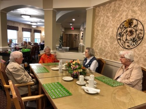 Residents playing BINGO during our Quarterly family game night