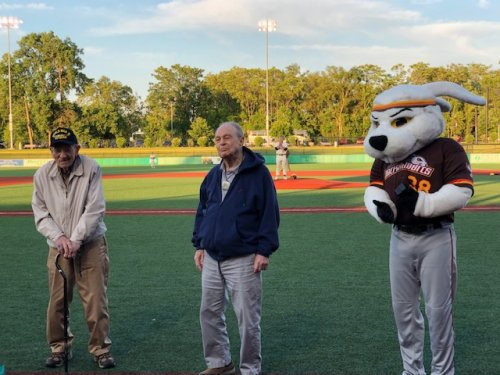 Our WWII veterans Cye and Gene were honored between innings at our local Jackrabbits game.