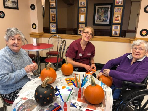 So much fun painting our pumpkins