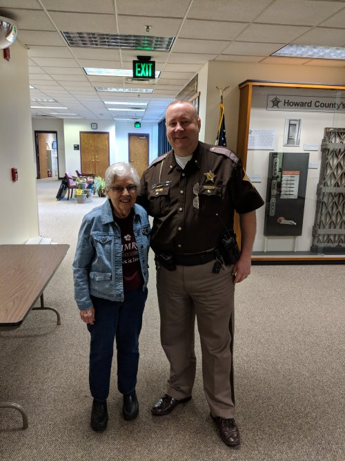 Serving Primrose Chili to Howard County Sheriff's Department.  Betty Fields (Ambassador)is with Sheriff Jerry Asher.