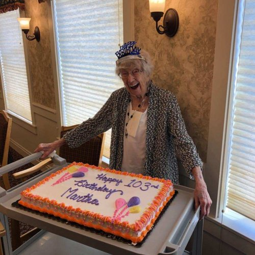 This is what 103 looks like. Happy Birthday Martha M. we love you.