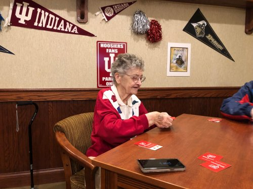Pat dealing cards in Euchre Club