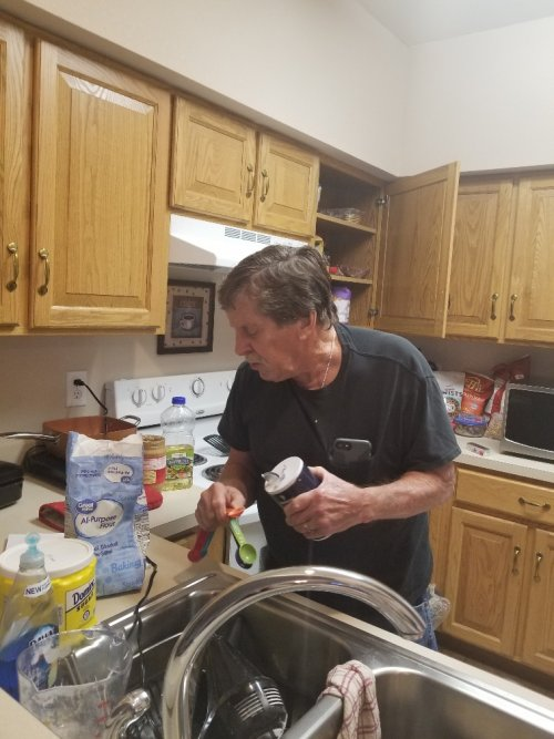 Our Resident Cookie man busy making yummy cookies for Staff and Residents.