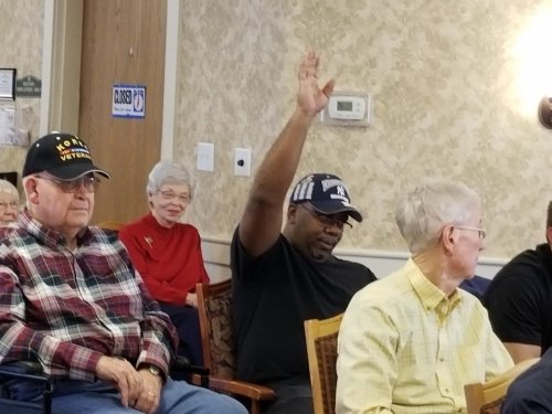 Pernell raising his hand for being a Marine.  thank you for your service