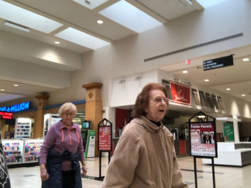 It may be cold outside but Joann and Trudy are keeping warm by walking in the mall