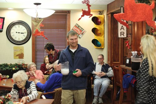 Zach passing out our Christmas Drink White Christmas.