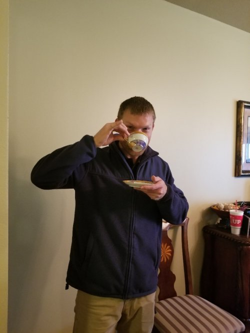 Our Plant Manager Zach enjoying a spot of tea