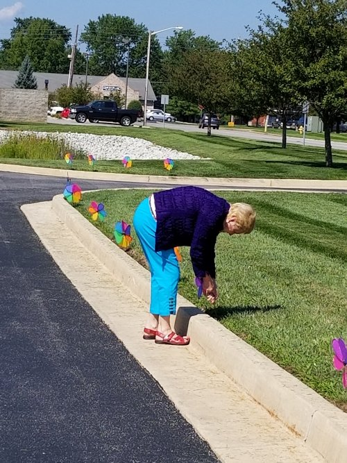 Barb Helping line the driveway with some bright flower pinwheels