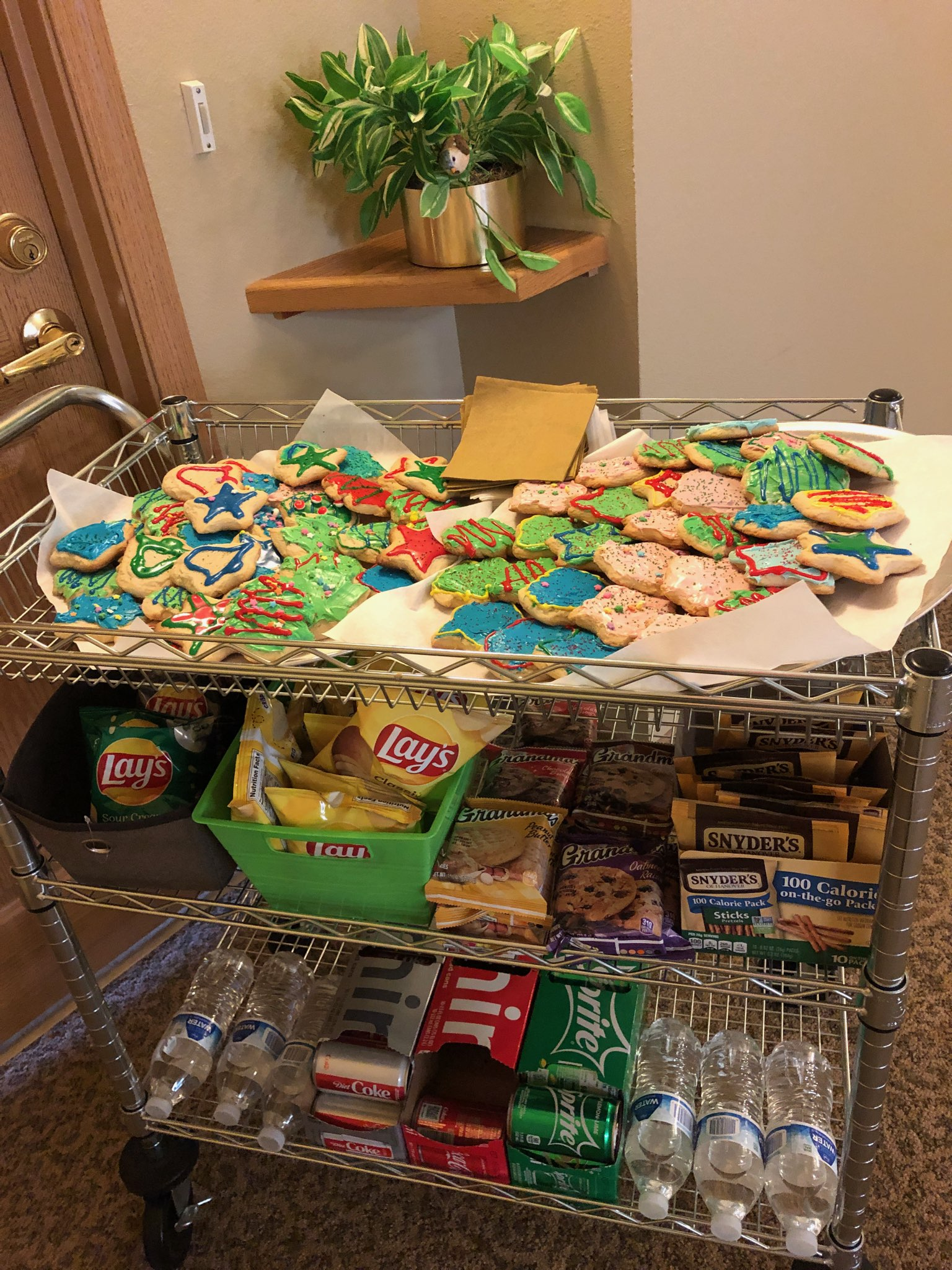 Look at all the yummy Christmas Cookies our Chef Bobby made for our residents! Sure makes the Snack Cart look better today!