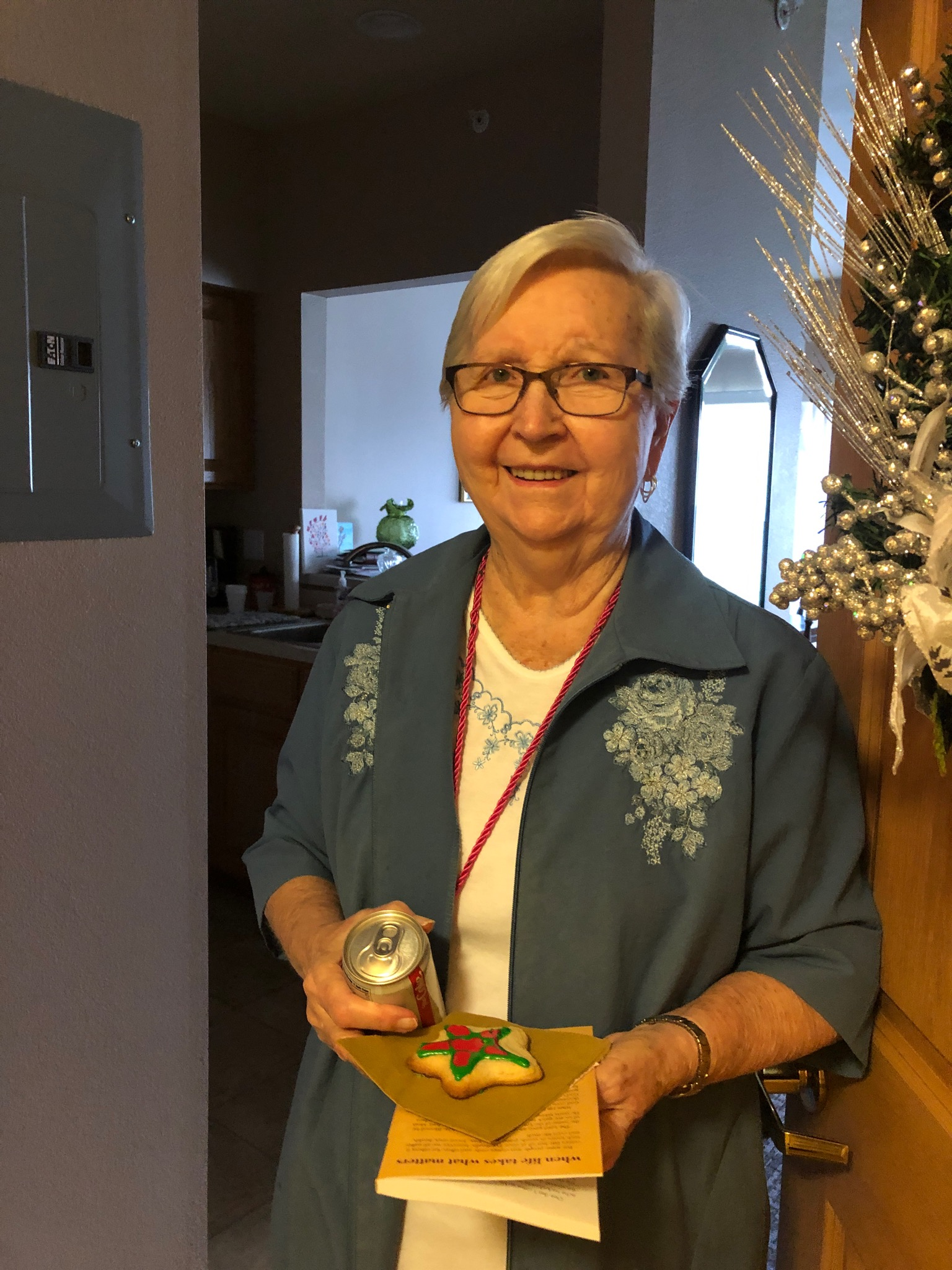 Jean loved her surprise from Chef Bobby: Homemade Christmas Cookies on National Cookie Day!