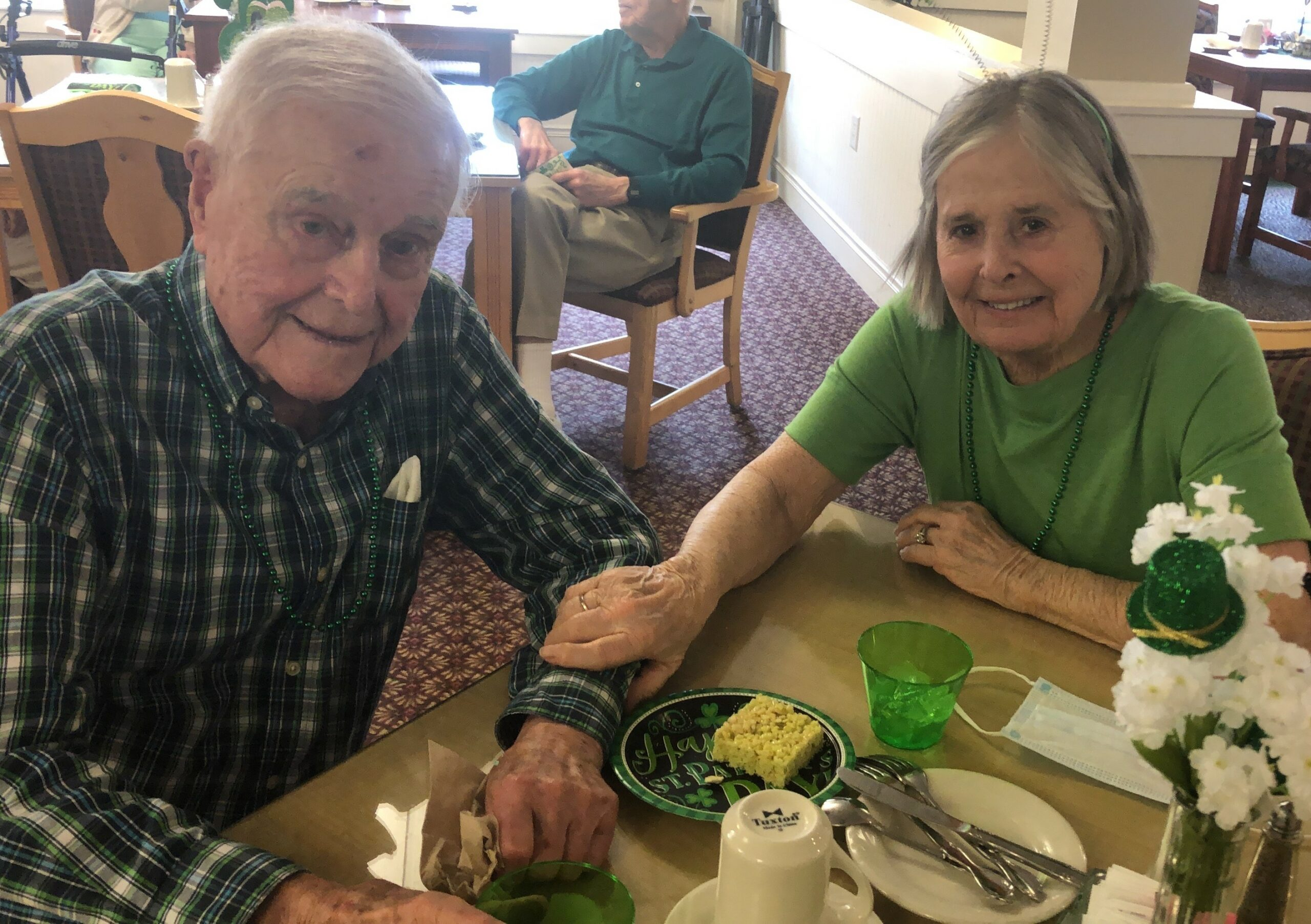 Bill and Marilyn Carmichael celebrating St. Patrick's Day together.