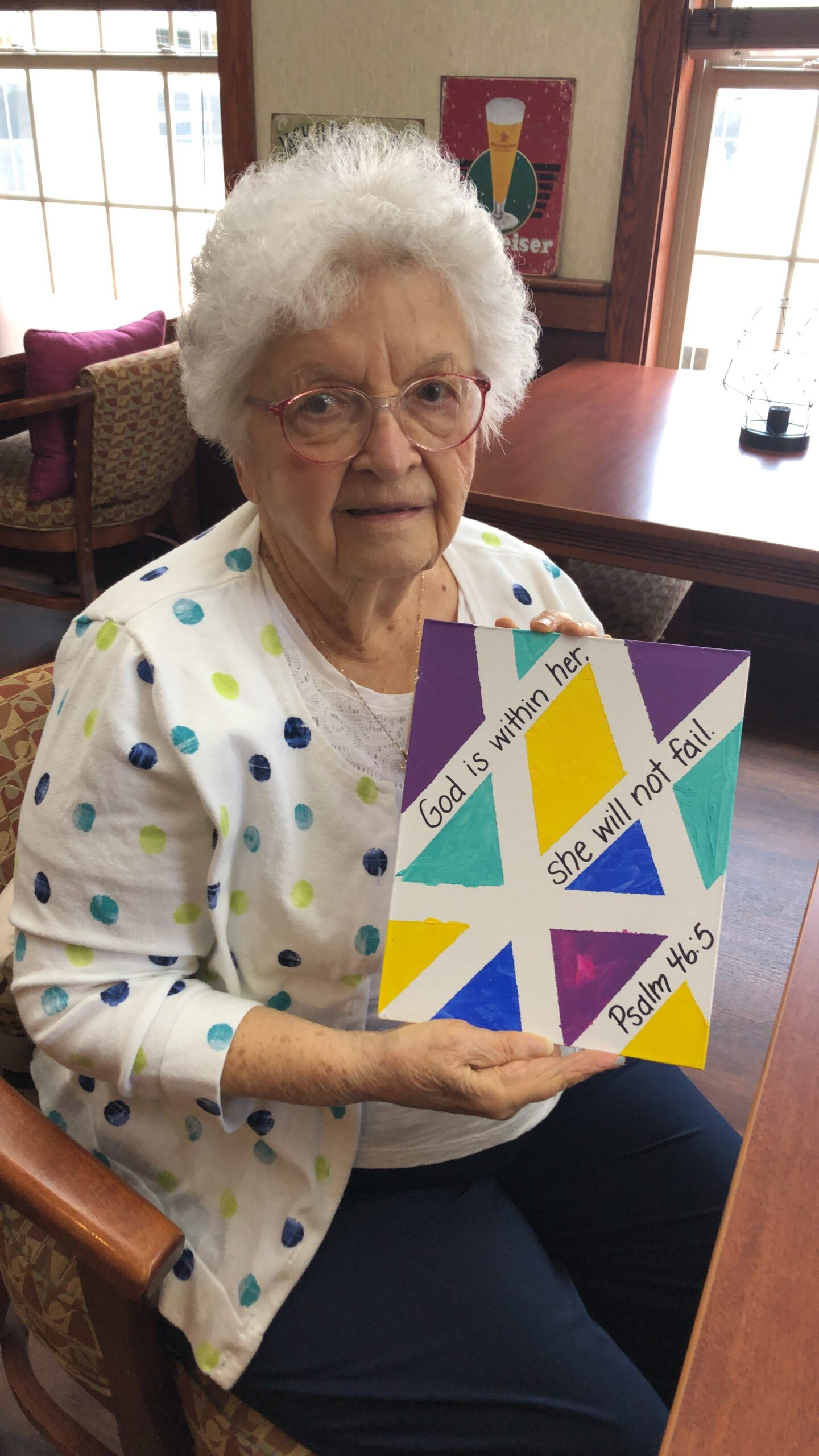 Marilyn made a beautiful geometric painting today for Easter.