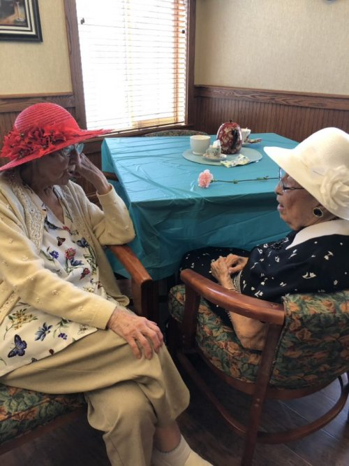 Esther Mae & Mable are talking about their lives being a mother during a Mother's Day Tea celebration.