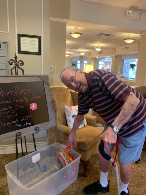 Bob is doing his part donating for our school supplies drive.Than you Bob!