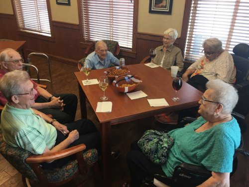 Don, J.J, Tom, Norma, Louretta and Mary Lou are enjoying each others stories during a Friday afternoon Happy Hour.
