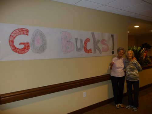 Frankie and Mary Lou decorated a great sign to help us cheer on the Ohio State Buckeyes for our football party.