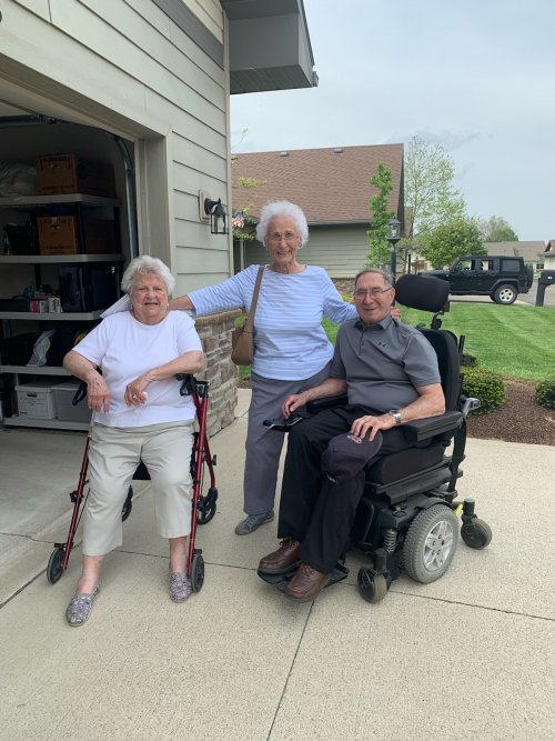 Neighbors June, Pat and Bob are out enjoying the warm weather.
