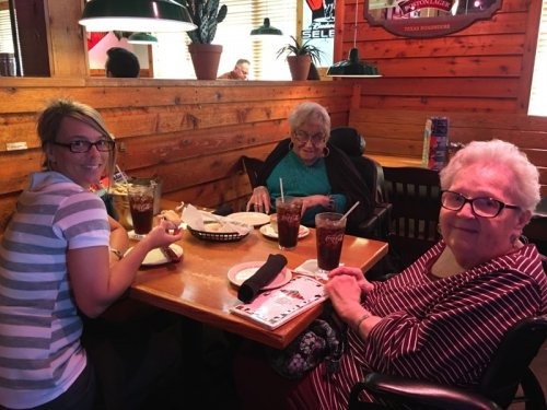 Danelle, Louretta and Mary Lou are enjoying the lunch outing in Lancaster.