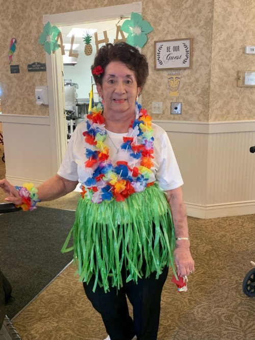 Cecilia is ready for the Luau.