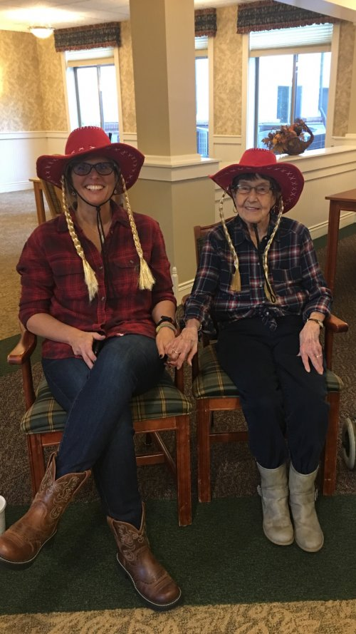 Norma and her daughter are in costume, ready for Trick or Treat.