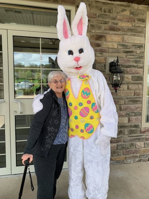 Karen ran into the Easter Bunny while he was visiting.
