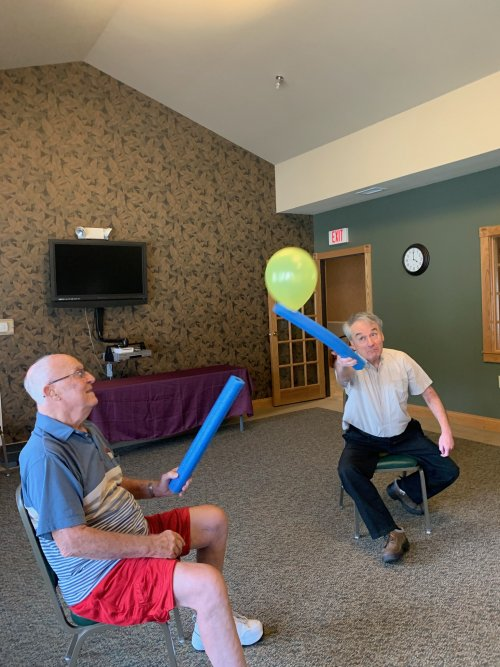Jerry and Mark going head to head during an afternoon of Noodle Ball.