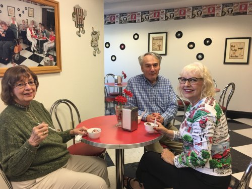Julie, Mark and Jane are enjoying each others company during an afternoon Ice Cream Social.