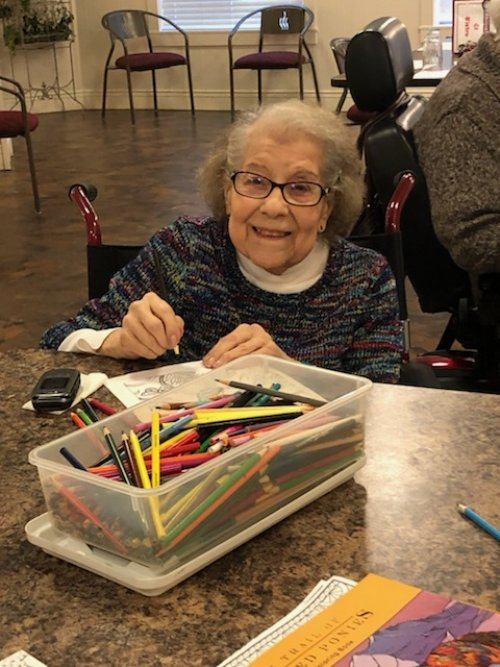 Grace is enjoying her time at Coloring Club.