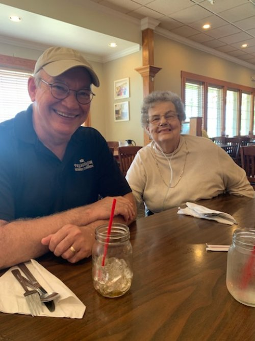 Kevin and Barbara are having a few good laughs during a Friday shopping and lunch outing.