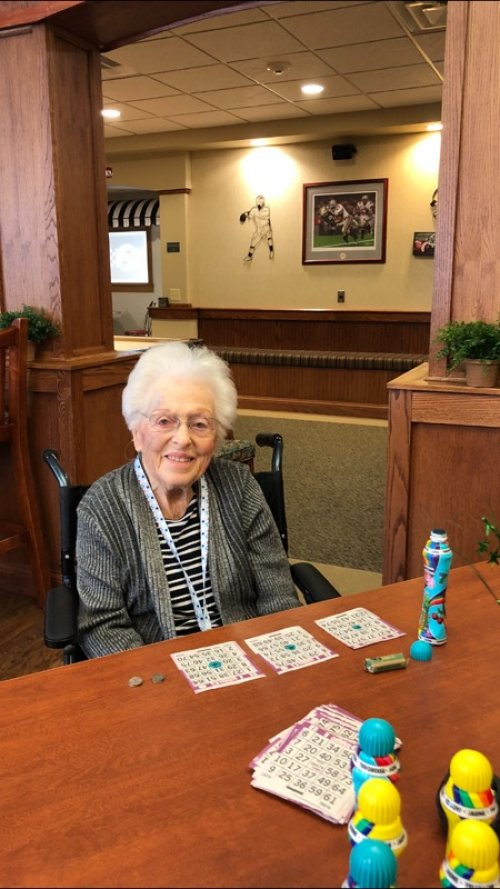 Marjorie is hoping to win a game or two of Bingo today.