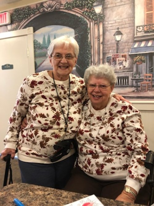 Karen and Mary showed up to Coloring Club with the same shirt on.