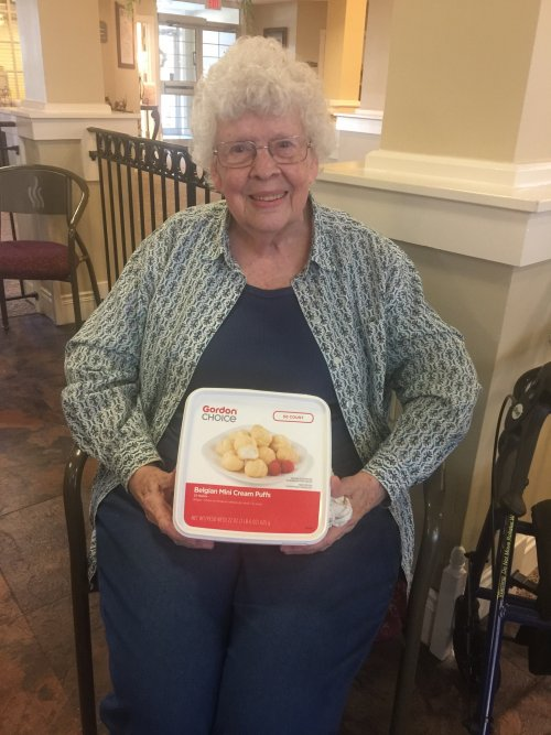 Shirley was the winner of the Cream Puff Eating Contest. 22 was her lucky number. Congrats Shirley!