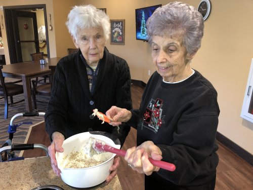 Frankie and Ruth work the Italian bread dough until it's just right