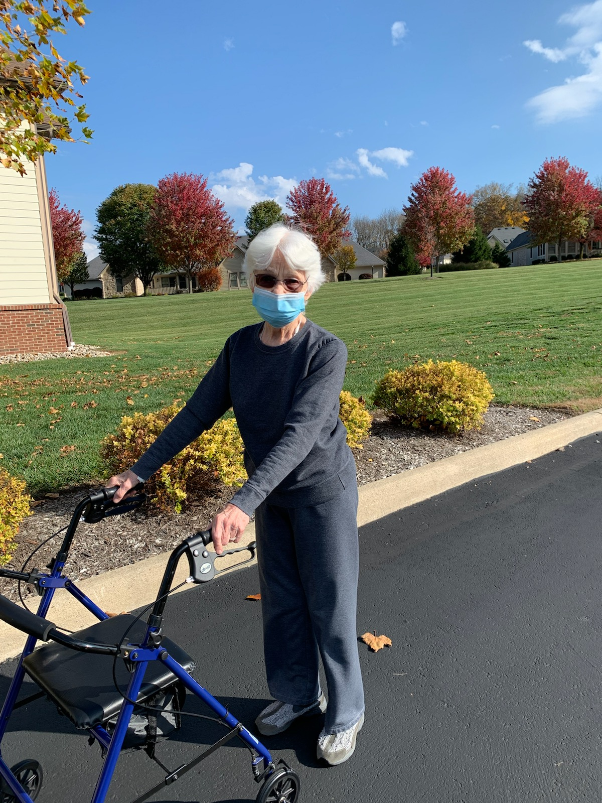 Norma is taking advantage of the warmer temps by getting out for a walk.