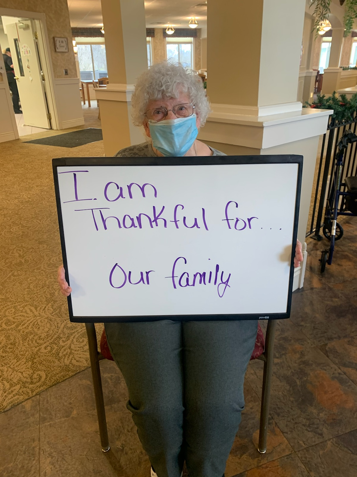 Shirley says that she is thankful for family.