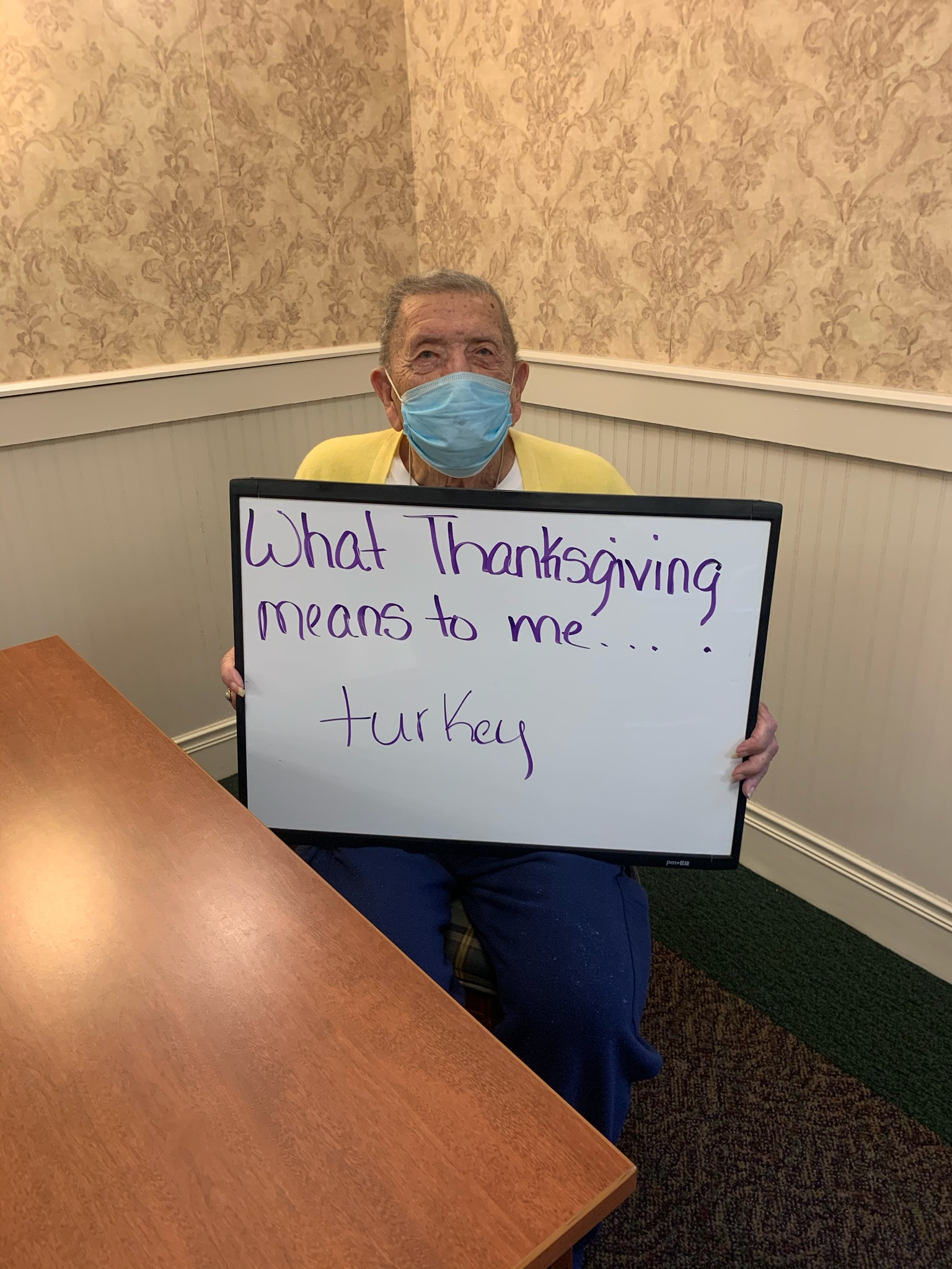 Dale was asked what Thanksgiving means to him, he response was turkey.