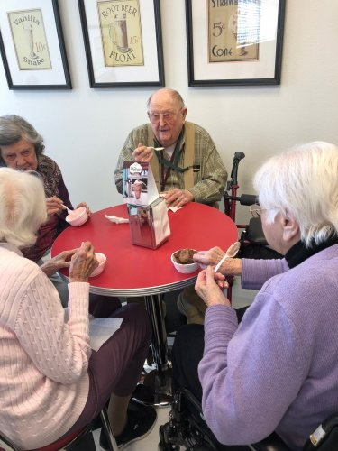 look at this group enjoying their Ice Cream on A Saturday.