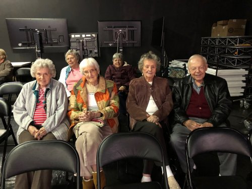 Wilma, Mary, Eileen, Jim, Betty and Vicki enjoyed the sounds of Christmas at the studio of Channel 44.