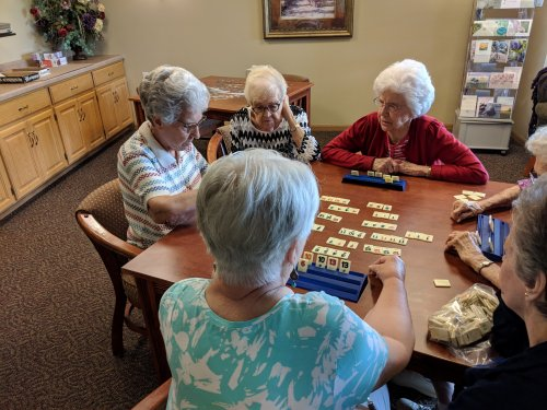 The ladies playing a game of Rummikub.