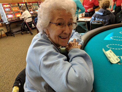 Betty S. trying her luck at the Black Jack table.