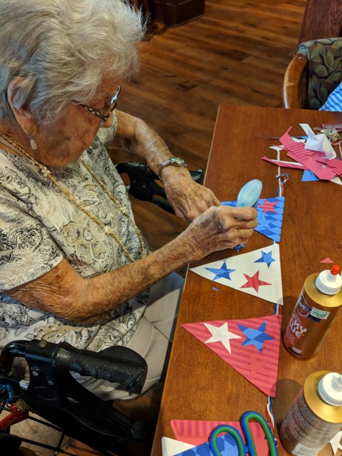 Mildred made a patriotic banner to hang up for the 4th of July.