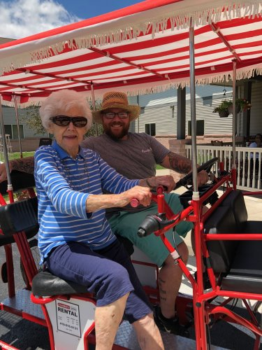 Wes gave Audrey a ride on the bike celebrating the longest Day!