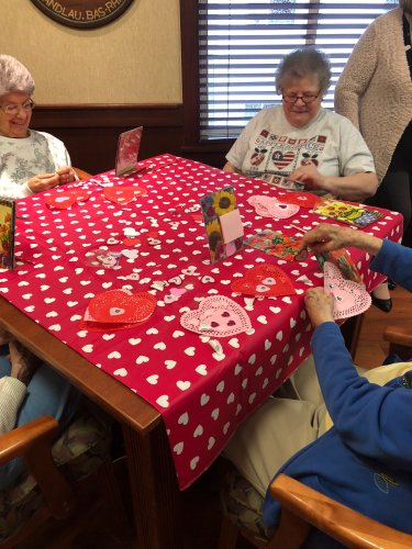 Rose And Rachel did a craft with the Lima Garden Club. After their craft was done they helped make hearts to give out to a the needy.