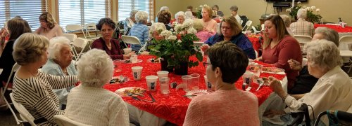 This table of ladies enjoyed brunch and conversation at the Mother's Day Brunch.