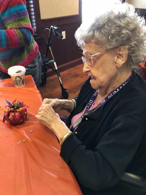 Rhea enjoyed making a fall decoration with the Lima Garden Club Ladies.