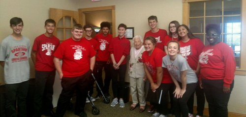 This is the Spartanaires from Lima Senior. Gerry was a Spartanaire 80 years ago. She was so excited to see them and have this picture taken.