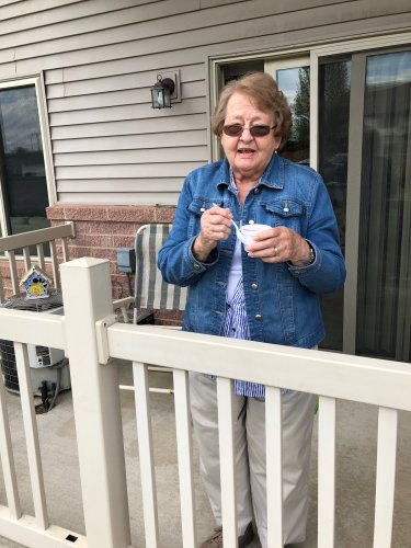 Edith liked being served on her patio!